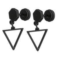 Edelstahl Tropfen Ohrring, schwärzen, verschiedene Verpackungs Art für Wahl & für Frau, 23mm, 13x12x10mm, verkauft von Paar