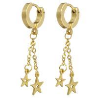 Huggie Hoop Drop Ohrringe, Edelstahl, Stern, goldfarben plattiert, verschiedene Verpackungs Art für Wahl & für Frau, 38mm, 7x8.5mm, verkauft von Paar