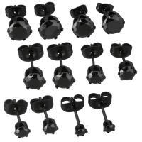 Edelstahl Ohrringe, schwärzen, verschiedene Größen vorhanden & für Frau & mit Strass, verkauft von Paar