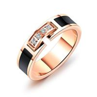 Titan Edelstahl Ringe, Titanstahl, Rósegold-Farbe plattiert, verschiedene Größen vorhanden & für Frau & Emaille & mit kubischem Zirkonia, 5mm, verkauft von PC