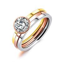 Titan Edelstahl Ringe, Titanstahl, plattiert, verschiedene Größen vorhanden & für Frau & mit kubischem Zirkonia, 4mm, verkauft von PC