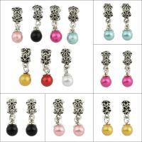 Zinklegierung Stiftöse Perlen, mit ABS-Kunststoff-Perlen, antik silberfarben plattiert, 5 Blütenblatt & großes Loch, keine, frei von Blei & Kadmium, 9x24x5mm, Bohrung:ca. 5mm, 50PCs/Tasche, verkauft von Tasche