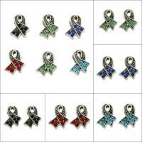 Strass Perlen European Stil, Zinklegierung, antik silberfarben plattiert, verschiedene Stile für Wahl & ohne troll & mit Strass & großes Loch, keine, frei von Blei & Kadmium, 10x13x7mm, Bohrung:ca. 2-7mm, 50PCs/Tasche, verkauft von Tasche
