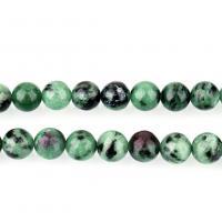 Rubin Zoisit Perle, rund, natürliche & verschiedene Größen vorhanden, Bohrung:ca. 1.3mm, verkauft per ca. 16 ZollInch Strang