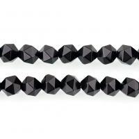 Natürliche schwarze Achat Perlen, Schwarzer Achat, verschiedene Größen vorhanden & facettierte, Bohrung:ca. 1.3mm, verkauft per ca. 15 ZollInch Strang
