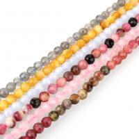Mischedelstein Perlen, Edelstein, natürliche & verschiedenen Materialien für die Wahl & facettierte, 4mm, Bohrung:ca. 0.8mm, ca. 102PCs/Strang, verkauft per ca. 16 ZollInch Strang