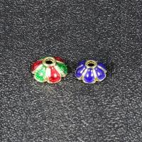Zinklegierung Perlenkappe, Blume, goldfarben plattiert, Imitation Cloisonne & Emaille, keine, frei von Blei & Kadmium, 8.9mm, Bohrung:ca. 1.5mm, 30PCs/Tasche, verkauft von Tasche