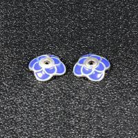 Zinklegierung Perlenkappe, Blume, silberfarben plattiert, Imitation Cloisonne & Emaille, blau, frei von Blei & Kadmium, 9.3mm, Bohrung:ca. 1.5mm, 30PCs/Tasche, verkauft von Tasche