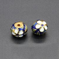 Imitation Cloisonne Zink Legierung Perlen, Zinklegierung, Trommel, goldfarben plattiert, Emaille, frei von Blei & Kadmium, 11x10mm, Bohrung:ca. 1mm, 10PCs/Tasche, verkauft von Tasche
