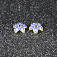 Zinklegierung Perlenkappe, Blume, goldfarben plattiert, Imitation Cloisonne & Emaille, frei von Blei & Kadmium, 8mm, Bohrung:ca. 1.5mm, 30PCs/Tasche, verkauft von Tasche