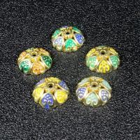 Imitation Cloisonne Zink Legierung Perlen, Zinklegierung, goldfarben plattiert, verschiedene Stile für Wahl & Emaille, frei von Blei & Kadmium, 10.4mm, Bohrung:ca. 1mm, 30PCs/Tasche, verkauft von Tasche