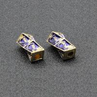 Imitation Cloisonne Zink Legierung Perlen, Zinklegierung, goldfarben plattiert, Emaille, keine, frei von Blei & Kadmium, 15x9mm, Bohrung:ca. 2mm, 10PCs/Tasche, verkauft von Tasche