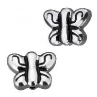 Edelstahl-Beads, Edelstahl, Schmetterling, doppelseitig & Schwärzen, 11x8.50x3.50mm, Bohrung:ca. 1mm, 20PCs/Menge, verkauft von Menge