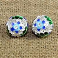 925 Sterling Silber Perlen, rund, silberfarben plattiert, Imitation Cloisonne & Emaille & hohl, 12mm, Bohrung:ca. 1.5mm, verkauft von PC