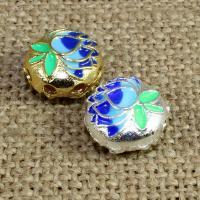 925 Sterling Silber Perlen, flache Runde, plattiert, Imitation Cloisonne & Mehrloch- & Emaille, keine, 12mm, Bohrung:ca. 1.5mm, verkauft von PC