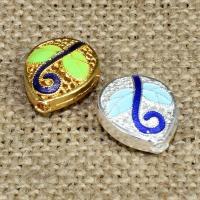 925 Sterling Silber Perlen, Tropfen, plattiert, Imitation Cloisonne & Emaille & hohl, keine, 15x13mm, Bohrung:ca. 1.5mm, verkauft von PC