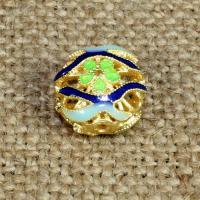 925 Sterling Silber Perlen, flache Runde, goldfarben plattiert, Imitation Cloisonne & Emaille & hohl, 12mm, Bohrung:ca. 1.5mm, verkauft von PC