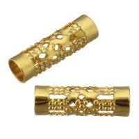 Edelstahl-Perlen mit großem Loch, Edelstahl, goldfarben plattiert, hohl, 12x4x4mm, Bohrung:ca. 3mm, 100PCs/Menge, verkauft von Menge