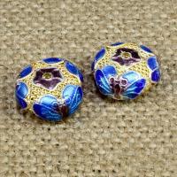 925 Sterling Silber Perlen, flache Runde, goldfarben plattiert, Emaille & hohl, 12mm, Bohrung:ca. 1-2mm, verkauft von PC