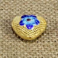 925 Sterling Silber Perlen, Herz, goldfarben plattiert, Emaille & hohl, 17x15mm, Bohrung:ca. 1-2mm, verkauft von PC