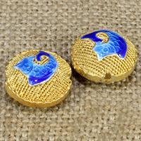 925 Sterling Silber Perlen, flache Runde, goldfarben plattiert, Emaille & hohl, keine, 18mm, Bohrung:ca. 1-2mm, verkauft von PC