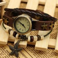 Armbanduhr, mit PU Leder & Holz & Zinklegierung, unisex & einstellbar & 3-Strang, 220mm, Länge:ca. 8.5 ZollInch