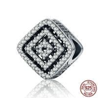 Thailand European Perlen, Rhombus, ohne troll & mit kubischem Zirkonia & hohl, 11x11mm, Bohrung:ca. 4.5-5mm, verkauft von PC