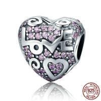 Thailand European Perlen, Herz, Wort Liebe, mit Brief Muster & ohne troll & mit kubischem Zirkonia, 11x12mm, Bohrung:ca. 4.5-5mm, verkauft von PC