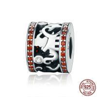 Thailand European Perlen, ohne troll & mit kubischem Zirkonia & hohl, 9x11mm, Bohrung:ca. 4.5-5mm, verkauft von PC