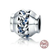 Thailand European Perlen, ohne troll & mit kubischem Zirkonia & hohl, 11x11mm, Bohrung:ca. 4.5-5mm, verkauft von PC