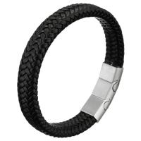 Unisex-Armband & Bangle, Kuhhaut, Edelstahl Magnetverschluss, unterschiedliche Länge der Wahl, schwarz, 13mm, 36x13x8mm, verkauft von Strang