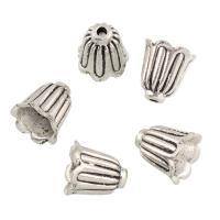Zinklegierung Perlenkappe, Blume, antik silberfarben plattiert, frei von Blei & Kadmium, 11x11x1mm, Bohrung:ca. 1mm, 20PCs/Tasche, verkauft von Tasche