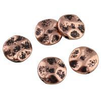 Zinklegierung flache Perlen, flache Runde, antike Kupferfarbe plattiert, frei von Blei & Kadmium, 12x3.5mm, Bohrung:ca. 1mm, 10PCs/Tasche, verkauft von Tasche