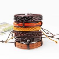 Kuhhaut Armband-Set, mit Gewachste Nylonschnur & PU Leder, geflochten & unisex & einstellbar, 60mm, Länge:ca. 7.6 ZollInch, 6SträngeStrang/setzen, verkauft von setzen
