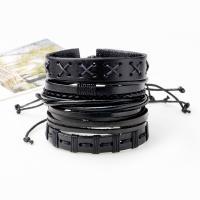 Kuhhaut Armband-Set, mit Gewachste Nylonschnur & PU Leder, geflochten & unisex & einstellbar, 60mm, Länge:ca. 7.6 ZollInch, 5SträngeStrang/setzen, verkauft von setzen