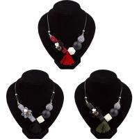 Mode Statement Halskette, Zinklegierung, mit Nylonschnur & Baumwollsamt & Acryl, mit Verlängerungskettchen von 2inch, goldfarben plattiert, für Frau, keine, frei von Nickel, Blei & Kadmium, verkauft per ca. 15.7 ZollInch Strang