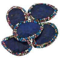 Lapislazuli Perlen, mit Ton, 21-23x31-32x5-6mm, Bohrung:ca. 1mm, 10PCs/Menge, verkauft von Menge