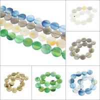 Achat Perlen, flache Runde, verschiedenen Materialien für die Wahl, 26x6mm, Bohrung:ca. 1.5mm, ca. 15PCs/Strang, verkauft per ca. 15.3 ZollInch Strang
