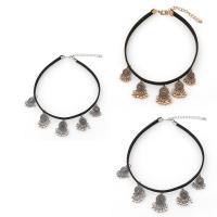 Mode-Halskette, Zinklegierung, mit Baumwollsamt, mit Verlängerungskettchen von 5cm, plattiert, für Frau, keine, frei von Blei & Kadmium, 29.5cm, verkauft per ca. 11 ZollInch Strang