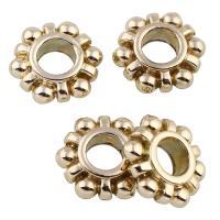 Zink Legierung Perlen Schmuck, Zinklegierung, ZahnradRad, goldfarben plattiert, großes Loch, frei von Blei & Kadmium, 12x4mm, Bohrung:ca. 5mm, 20PCs/Tasche, verkauft von Tasche