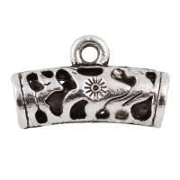Zinklegierung Stiftöse Perlen, antik silberfarben plattiert, hohl, frei von Blei & Kadmium, 22x13x7mm, Bohrung:ca. 1.5mm, Innendurchmesser:ca. 4mm, 20PCs/Tasche, verkauft von Tasche