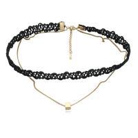 Mode-Halskette, Messing, mit Nylonschnur, mit Verlängerungskettchen von 5cm, vergoldet, Oval-Kette & für Frau, schwarz, frei von Nickel, Blei & Kadmium, 5mm, verkauft per ca. 12.5 ZollInch Strang