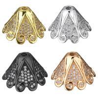 Messing Perlenkappe, plattiert, Micro pave Zirkonia, keine, 18x12x18mm, Bohrung:ca. 2mm, 10PCs/Menge, verkauft von Menge