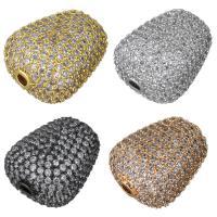 Befestigte Zirkonia Perlen, Messing, plattiert, Micro pave Zirkonia, keine, 15x18x12mm, Bohrung:ca. 2mm, 5PCs/Menge, verkauft von Menge