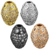 Befestigte Zirkonia Perlen, Messing, plattiert, Micro pave Zirkonia, keine, 10x15x10mm, Bohrung:ca. 2.5mm, 10PCs/Menge, verkauft von Menge