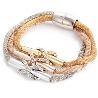 Zinklegierung Armband, plattiert, für Frau & 3-Strang & mit Strass, verkauft per ca. 8 ZollInch Strang