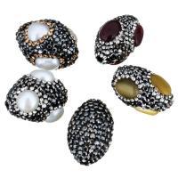 Strass Ton befestigte Perlen, Lehm pflastern, verschiedenen Materialien für die Wahl & mit Strass, 14-28x20-23x14-27mm, 10PCs/Menge, verkauft von Menge