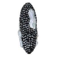 Strass Ton befestigte Perlen, Lehm pflastern, mit Natürliche kultivierte Süßwasserperlen, mit Strass, 15x43x17mm, Bohrung:ca. 1.5mm, 5PCs/Menge, verkauft von Menge