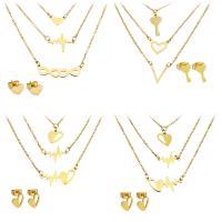 Edelstahl Schmucksets, Ohrring & Halskette, goldfarben plattiert, Oval-Kette & verschiedene Stile für Wahl & für Frau & 3-Strang, 2.5-29x7-28mm, 12-24x3.5x12mm, 1.5mm, 5-10x6-15mm, Länge:ca. 17 ZollInch, verkauft von setzen
