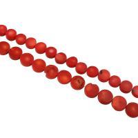 Natürliche Korallen Perlen, flache Runde, verschiedene Größen vorhanden & verschiedene Stile für Wahl, Bohrung:ca. 1mm, verkauft per ca. 15.7 ZollInch Strang